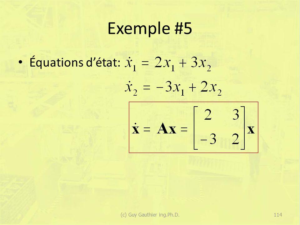 Exemple #5 Équations détat: 114(c) Guy Gauthier ing.Ph.D.