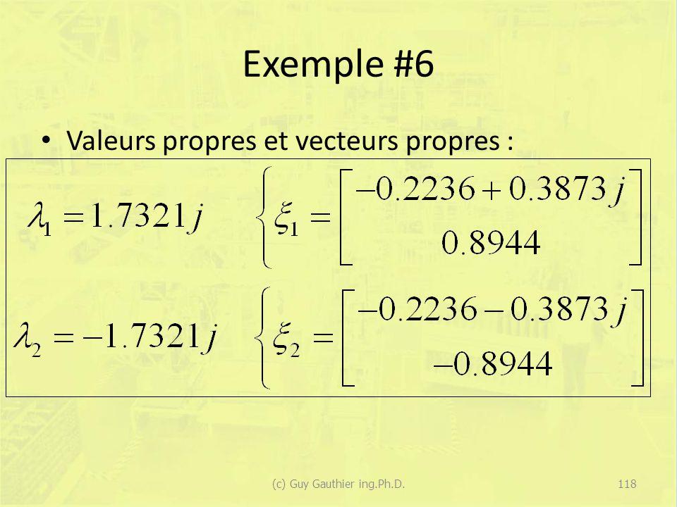 Exemple #6 Valeurs propres et vecteurs propres : 118(c) Guy Gauthier ing.Ph.D.