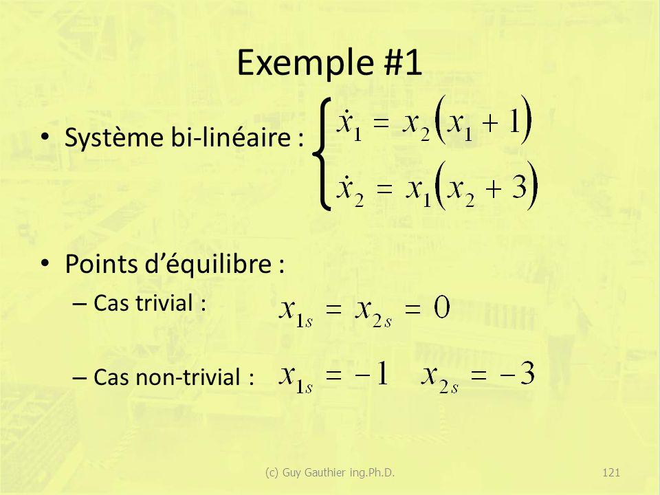 Exemple #1 Système bi-linéaire : Points déquilibre : – Cas trivial : – Cas non-trivial : 121(c) Guy Gauthier ing.Ph.D.