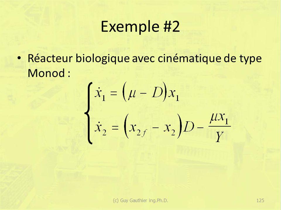 Exemple #2 Réacteur biologique avec cinématique de type Monod : 125(c) Guy Gauthier ing.Ph.D.