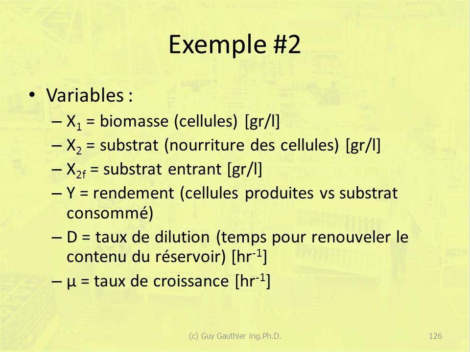 Exemple #2 Variables : – X 1 = biomasse (cellules) [gr/l] – X 2 = substrat (nourriture des cellules) [gr/l] – X 2f = substrat entrant [gr/l] – Y = ren