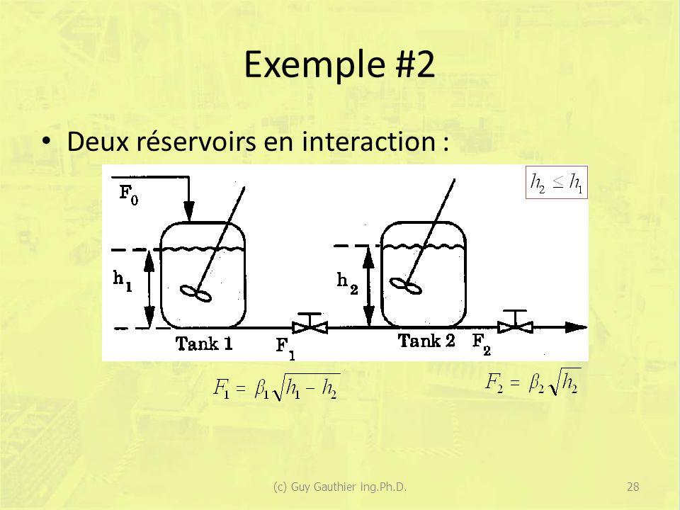 Exemple #2 Deux réservoirs en interaction : 28(c) Guy Gauthier ing.Ph.D.