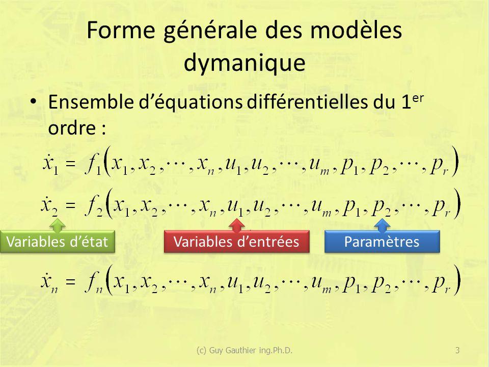 Solution pour des entrées nulles Léquation générale dun modèle dans lespace détat est : Si lentrée est nulle (u = 0), alors on peut écrire : 54(c) Guy Gauthier ing.Ph.D.