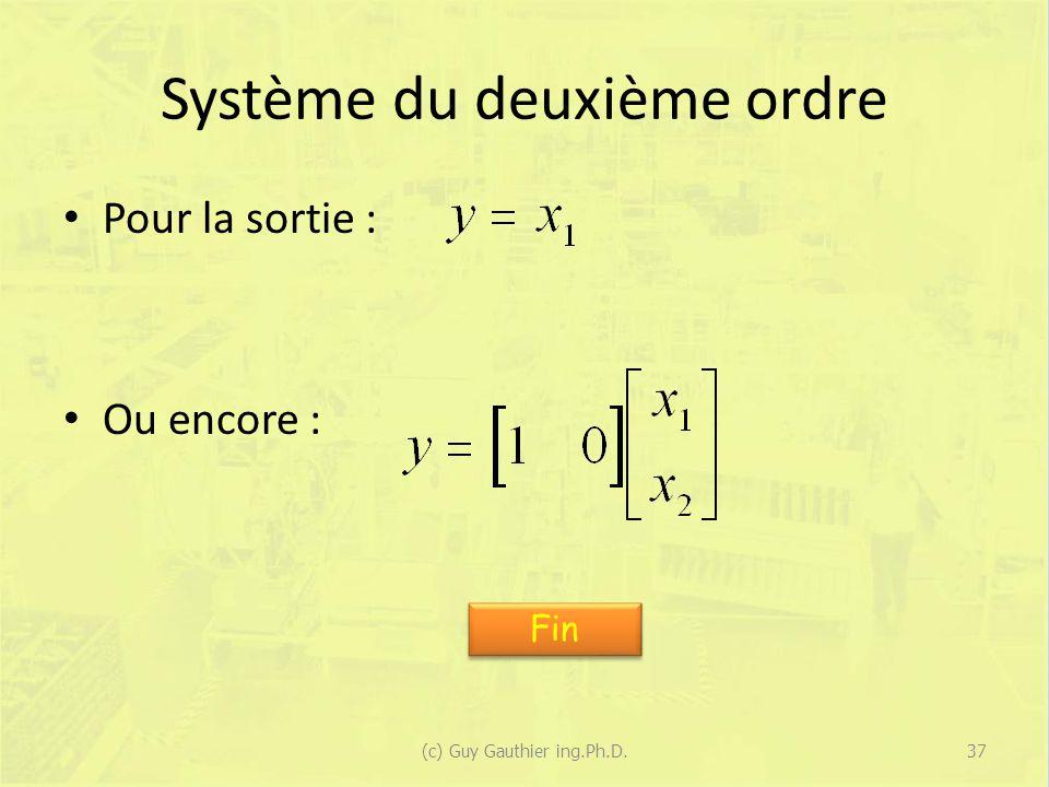 Système du deuxième ordre Pour la sortie : Ou encore : 37(c) Guy Gauthier ing.Ph.D. Fin