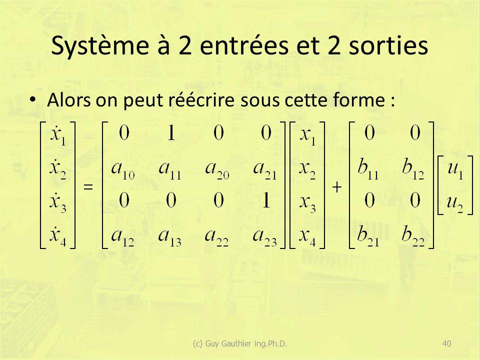 Système à 2 entrées et 2 sorties Alors on peut réécrire sous cette forme : 40(c) Guy Gauthier ing.Ph.D.