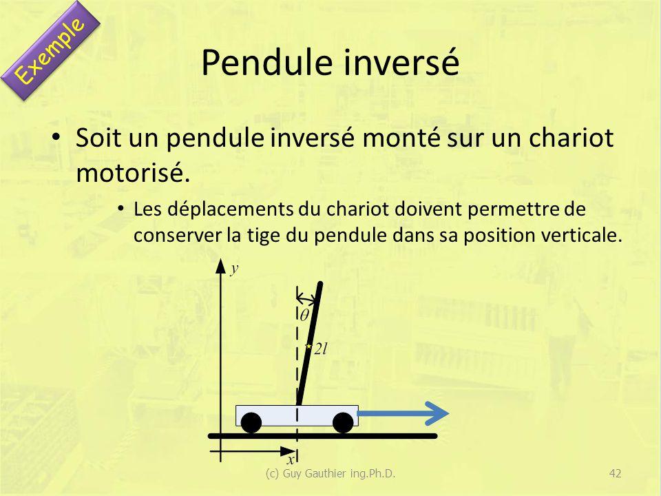 Pendule inversé Soit un pendule inversé monté sur un chariot motorisé. Les déplacements du chariot doivent permettre de conserver la tige du pendule d