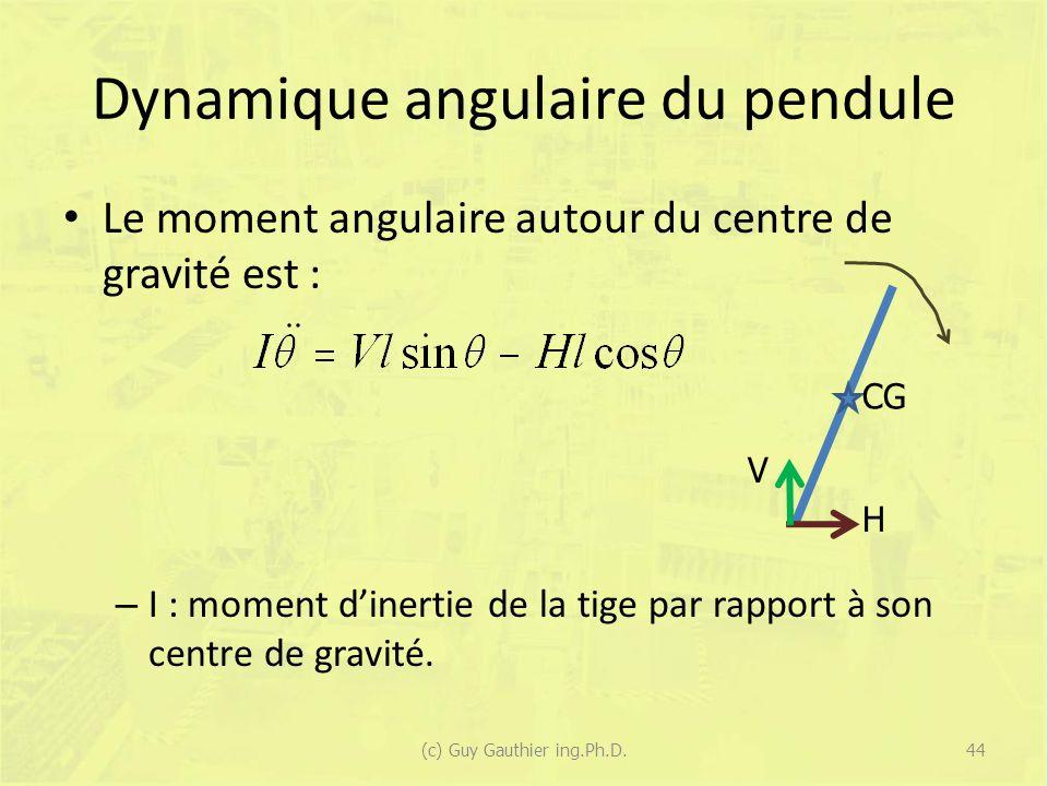 Dynamique angulaire du pendule Le moment angulaire autour du centre de gravité est : – I : moment dinertie de la tige par rapport à son centre de grav