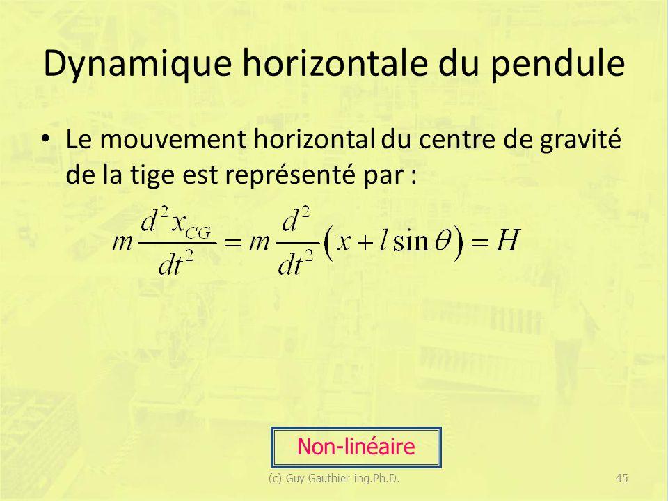 Dynamique horizontale du pendule Le mouvement horizontal du centre de gravité de la tige est représenté par : Non-linéaire 45(c) Guy Gauthier ing.Ph.D