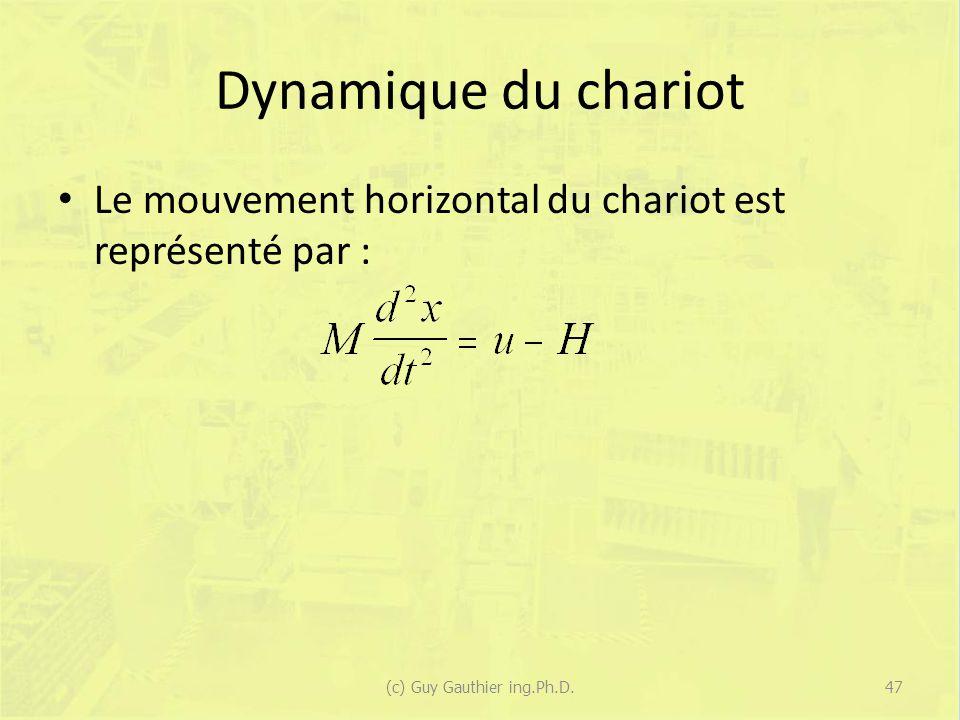 Dynamique du chariot Le mouvement horizontal du chariot est représenté par : 47(c) Guy Gauthier ing.Ph.D.