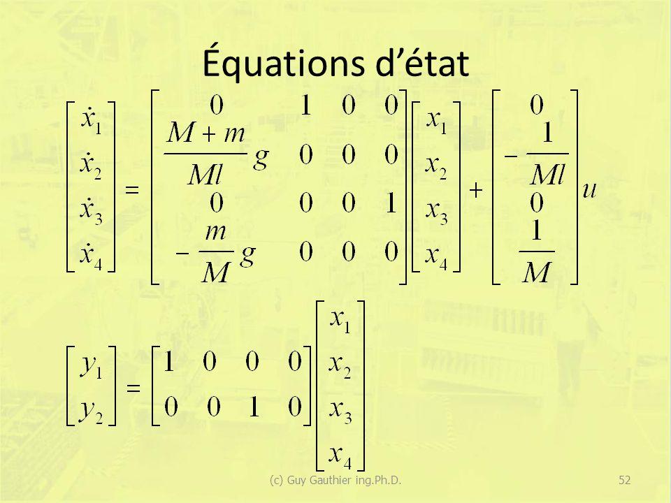 Équations détat 52(c) Guy Gauthier ing.Ph.D.