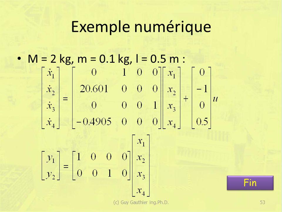Exemple numérique M = 2 kg, m = 0.1 kg, l = 0.5 m : 53(c) Guy Gauthier ing.Ph.D. Fin