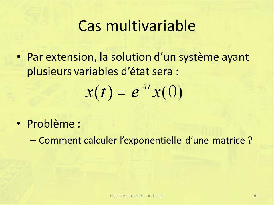 Cas multivariable Par extension, la solution dun système ayant plusieurs variables détat sera : Problème : – Comment calculer lexponentielle dune matr