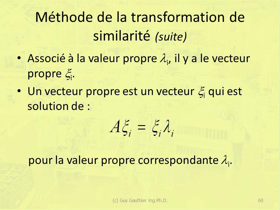 Méthode de la transformation de similarité (suite) Associé à la valeur propre i, il y a le vecteur propre i. Un vecteur propre est un vecteur i qui es
