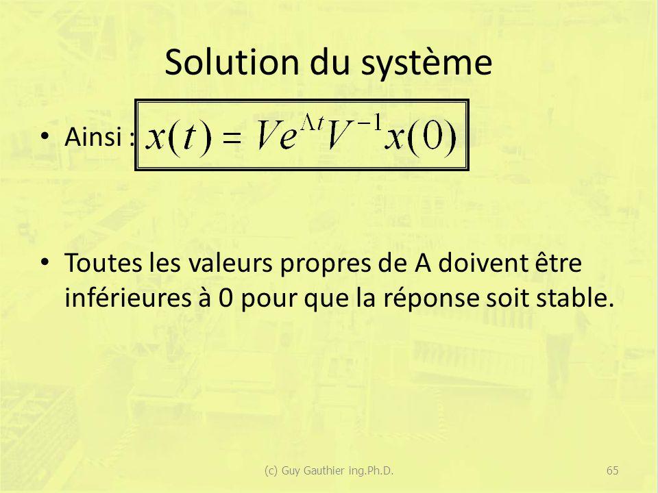 Solution du système Ainsi : Toutes les valeurs propres de A doivent être inférieures à 0 pour que la réponse soit stable. 65(c) Guy Gauthier ing.Ph.D.