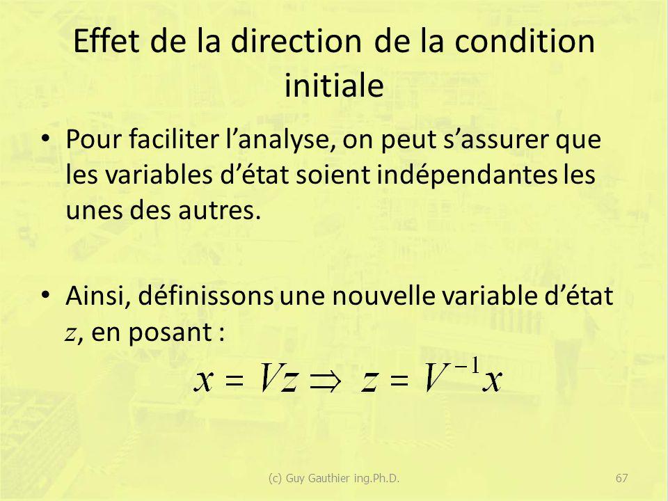 Effet de la direction de la condition initiale Pour faciliter lanalyse, on peut sassurer que les variables détat soient indépendantes les unes des aut