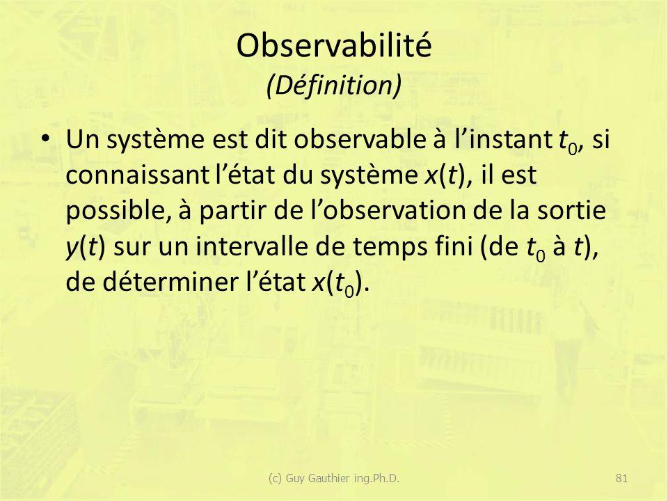 Observabilité (Définition) Un système est dit observable à linstant t 0, si connaissant létat du système x(t), il est possible, à partir de lobservati