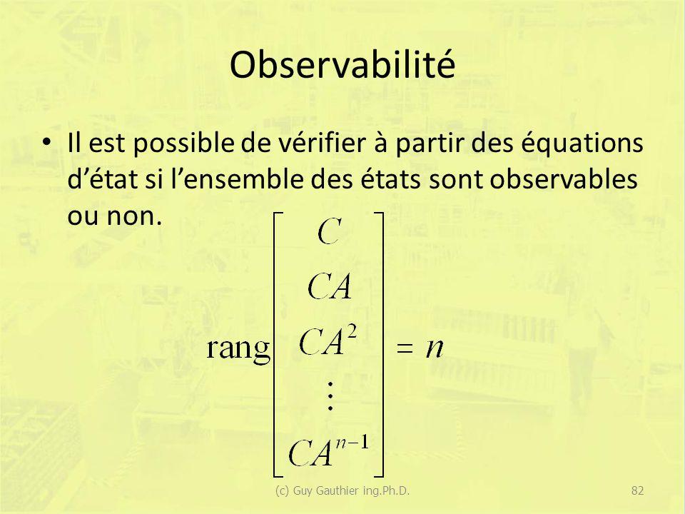 Observabilité Il est possible de vérifier à partir des équations détat si lensemble des états sont observables ou non. 82(c) Guy Gauthier ing.Ph.D.