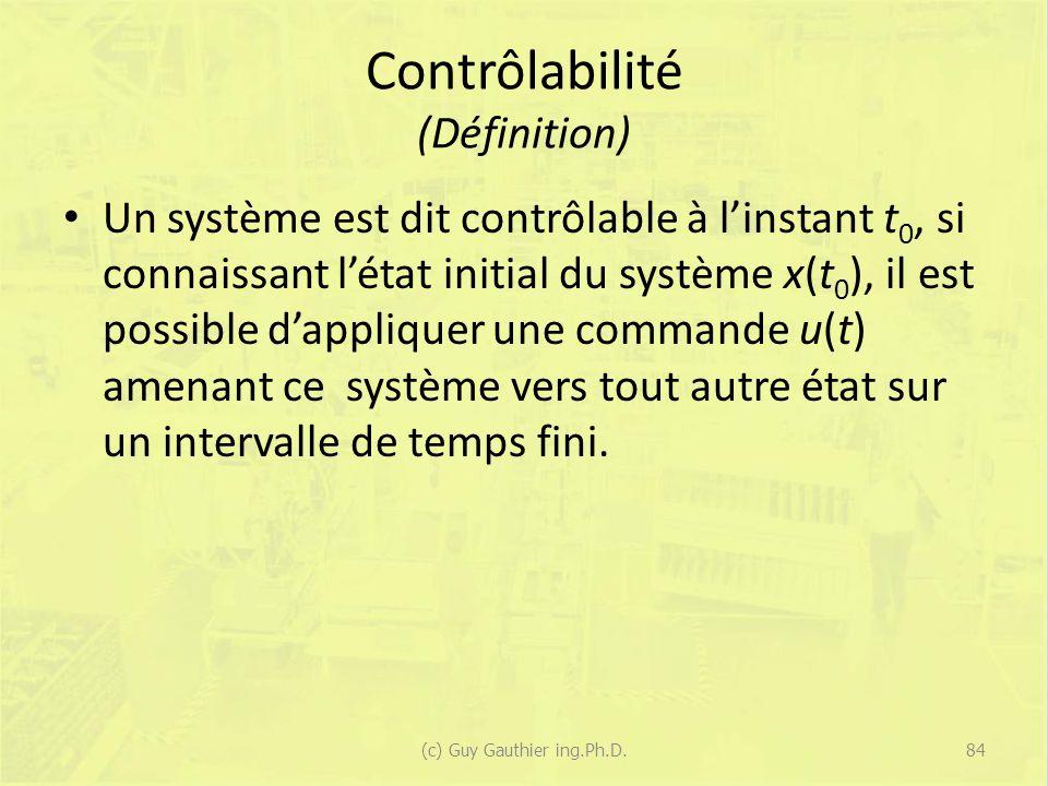 Contrôlabilité (Définition) Un système est dit contrôlable à linstant t 0, si connaissant létat initial du système x(t 0 ), il est possible dappliquer