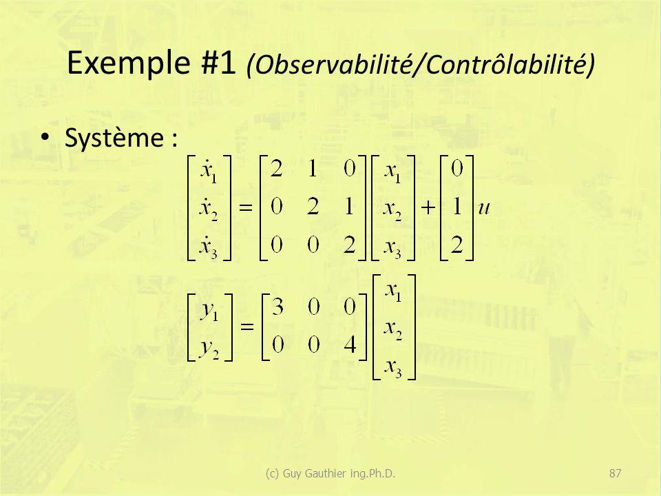 Exemple #1 (Observabilité/Contrôlabilité) Système : 87(c) Guy Gauthier ing.Ph.D.