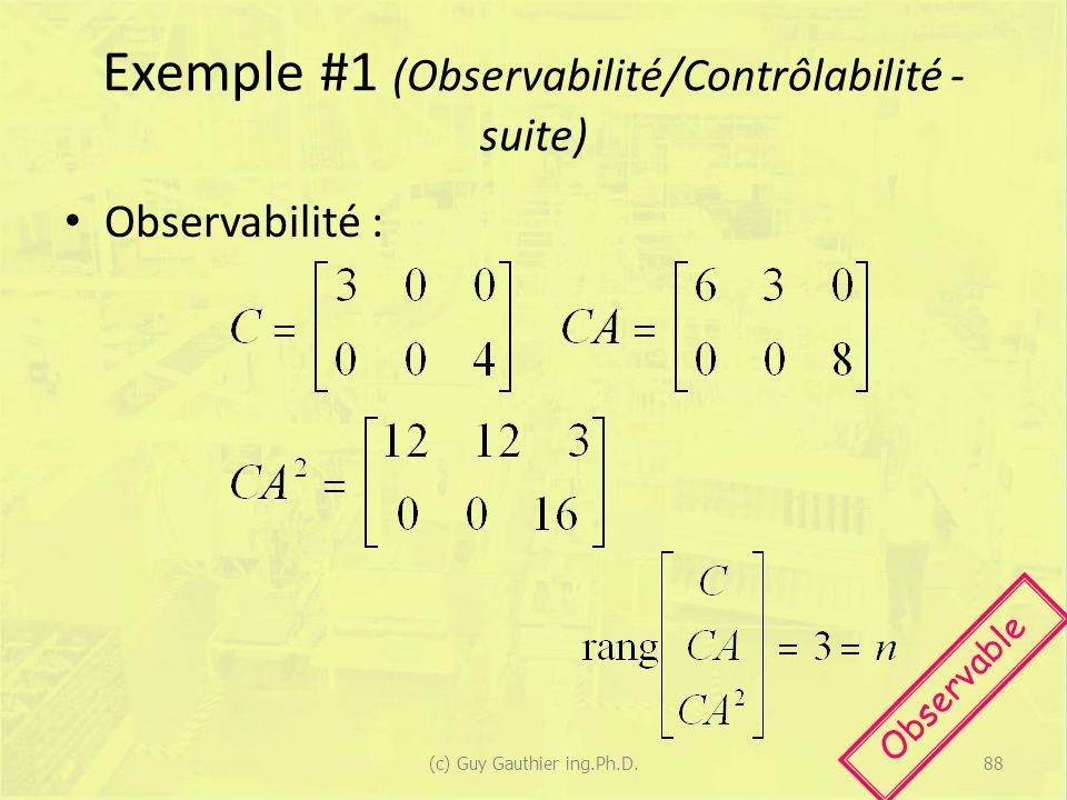 Exemple #1 (Observabilité/Contrôlabilité - suite) Observabilité : Observable 88(c) Guy Gauthier ing.Ph.D.