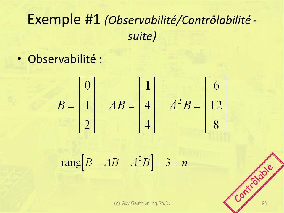 Exemple #1 (Observabilité/Contrôlabilité - suite) Observabilité : Contrôlable 89(c) Guy Gauthier ing.Ph.D.