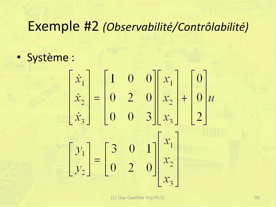 Exemple #2 (Observabilité/Contrôlabilité) Système : 90(c) Guy Gauthier ing.Ph.D.
