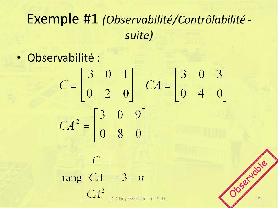 Exemple #1 (Observabilité/Contrôlabilité - suite) Observabilité : Observable 91(c) Guy Gauthier ing.Ph.D.