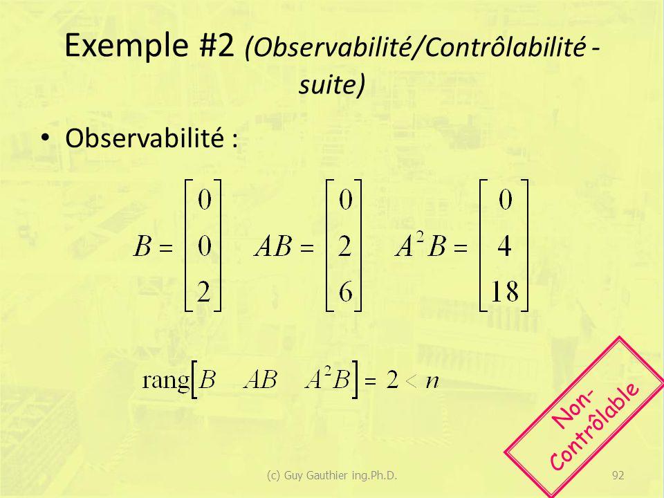 Exemple #2 (Observabilité/Contrôlabilité - suite) Observabilité : Non- Contrôlable 92(c) Guy Gauthier ing.Ph.D.