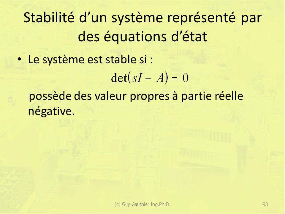 Stabilité dun système représenté par des équations détat Le système est stable si : possède des valeur propres à partie réelle négative. 93(c) Guy Gau