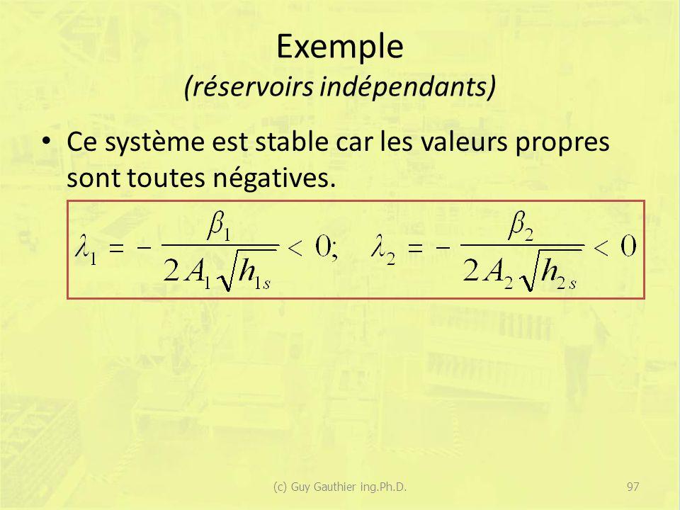 Exemple (réservoirs indépendants) Ce système est stable car les valeurs propres sont toutes négatives. 97(c) Guy Gauthier ing.Ph.D.