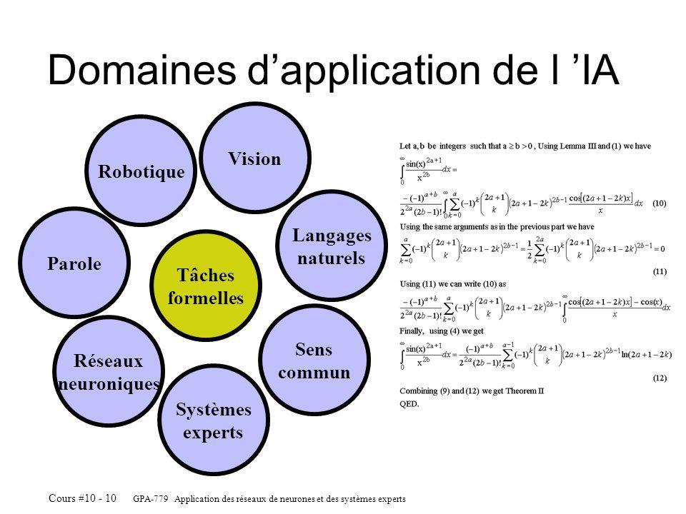 GPA-779 Application des réseaux de neurones et des systèmes experts Cours #10 - 10 Domaines dapplication de l IA Robotique Vision Langages naturels Sens commun Systèmes experts Réseaux neuroniques Parole Tâches formelles