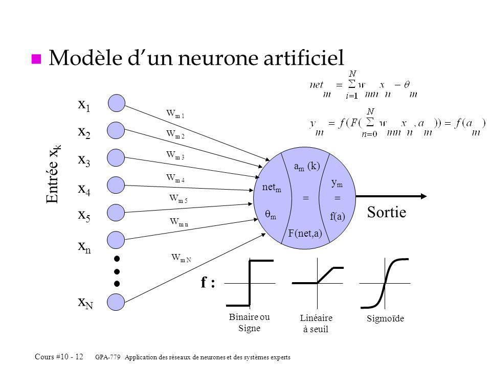 GPA-779 Application des réseaux de neurones et des systèmes experts Cours #10 - 12 Sortie x1x1 x2x2 x3x3 x4x4 xnxn xNxN x5x5 Entrée x k W m 1 W m 2 W m 3 W m 4 W m 5 W m n W m N n Modèle dun neurone artificiel ymym = f(a) net m m f : Binaire ou Signe Linéaire à seuil Sigmoïde a m (k) F(net,a) =