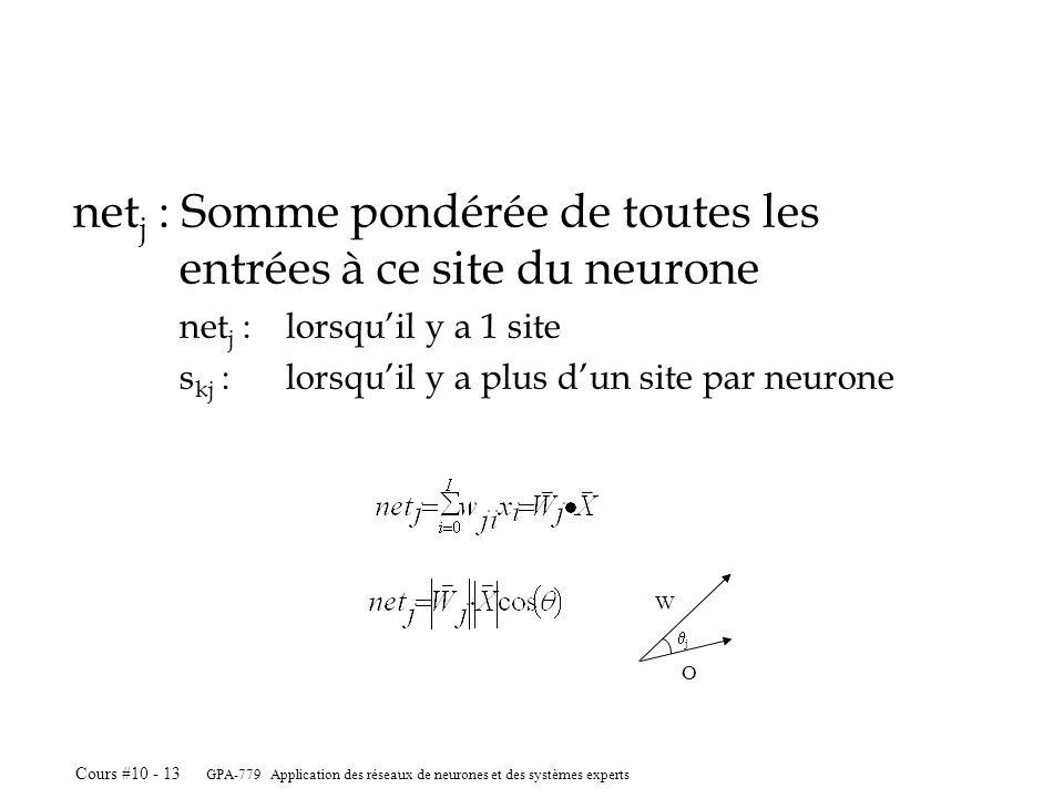 GPA-779 Application des réseaux de neurones et des systèmes experts Cours #10 - 13 net j : Somme pondérée de toutes les entrées à ce site du neurone net j :lorsquil y a 1 site s kj :lorsquil y a plus dun site par neurone j W O