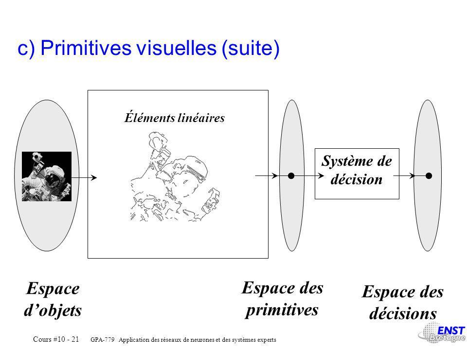 GPA-779 Application des réseaux de neurones et des systèmes experts Cours #10 - 21 Éléments linéaires Système de décision Espace dobjets Espace des primitives Espace des décisions c) Primitives visuelles (suite)