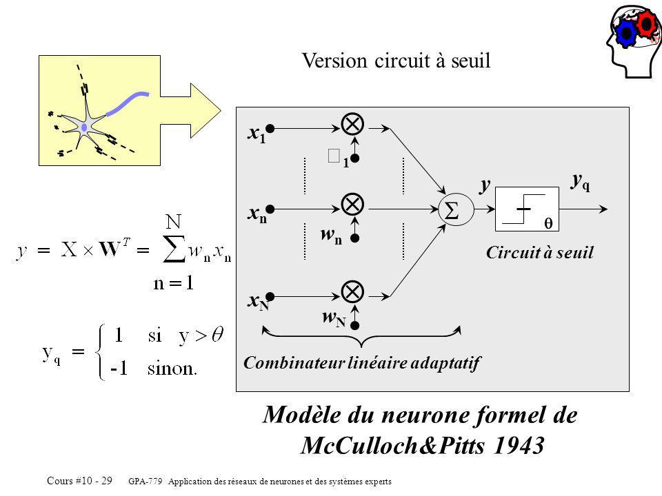 GPA-779 Application des réseaux de neurones et des systèmes experts Cours #10 - 29 1 x1x1 wnwn xnxn wNwN xNxN y Circuit à seuil Combinateur linéaire adaptatif yqyq Modèle du neurone formel de McCulloch&Pitts 1943 Version circuit à seuil