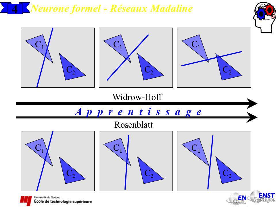 4 Neurone formel - Réseaux Madaline C1C1 C2C2 C1C1 C2C2 C1C1 C2C2 Widrow-Hoff C1C1 C2C2 C1C1 C2C2 C1C1 C2C2 Rosenblatt A p p r e n t i s s a g e