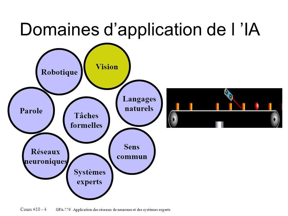 GPA-779 Application des réseaux de neurones et des systèmes experts Cours #10 - 4 Domaines dapplication de l IA Robotique Vision Langages naturels Sens commun Systèmes experts Réseaux neuroniques Parole Tâches formelles