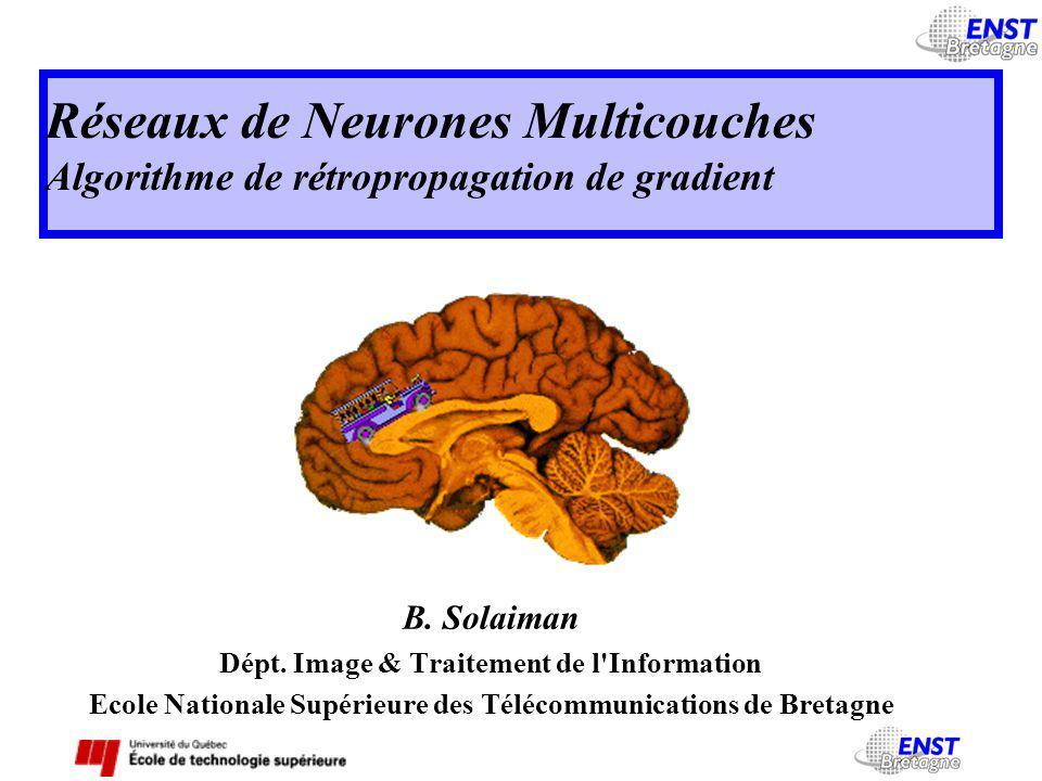Réseaux de Neurones Multicouches Algorithme de rétropropagation de gradient B.