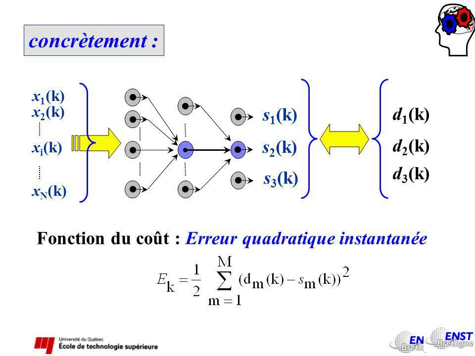 concrètement : x 1 (k) x 2 (k) x i (k) x N (k) d 1 (k) d 2 (k) d 3 (k) s 1 (k) s 2 (k) s 3 (k) Fonction du coût : Erreur quadratique instantanée