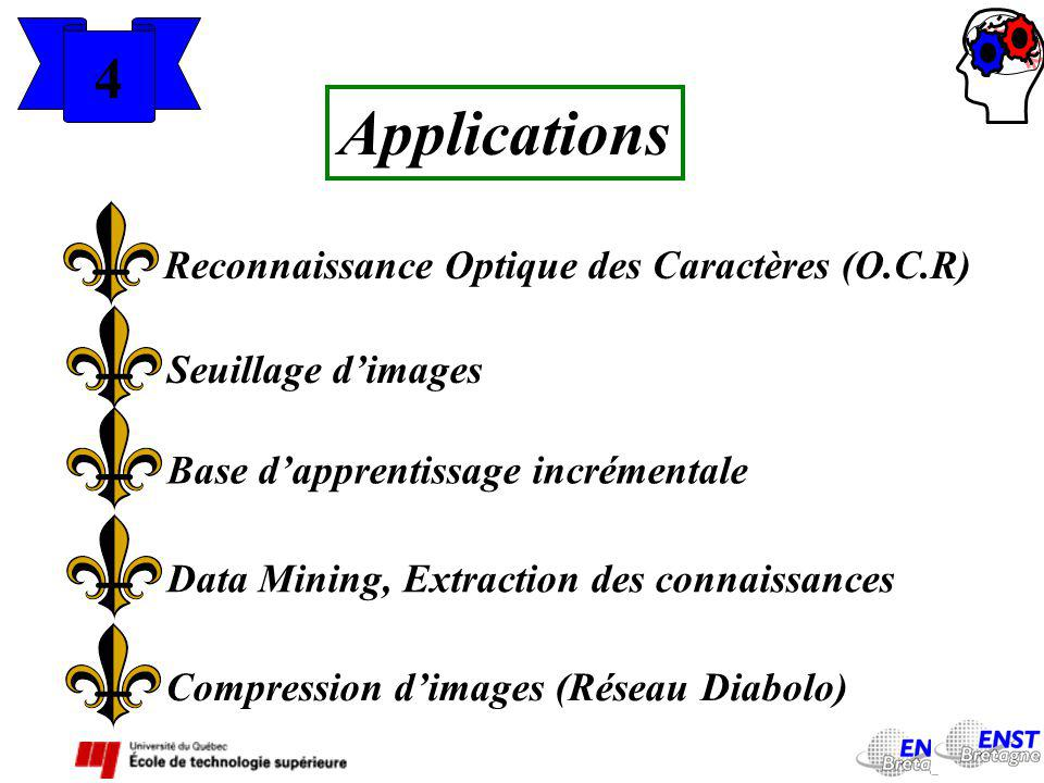 4 Applications Reconnaissance Optique des Caractères (O.C.R) Seuillage dimages Base dapprentissage incrémentale Data Mining, Extraction des connaissan