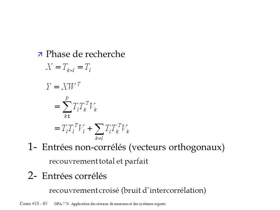GPA-779 Application des réseaux de neurones et des systèmes experts Cours #10 - 65 ä Phase de recherche 1- Entrées non-corrélés (vecteurs orthogonaux) recouvrement total et parfait 2- Entrées corrélés recouvrement croisé (bruit dintercorrélation)