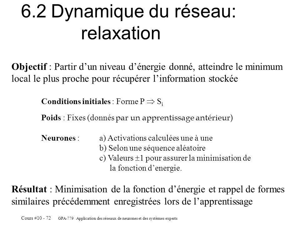 GPA-779 Application des réseaux de neurones et des systèmes experts Cours #10 - 72 6.2Dynamique du réseau: relaxation Objectif : Partir dun niveau dénergie donné, atteindre le minimum local le plus proche pour récupérer linformation stockée Conditions initiales : Forme P S i Poids : Fixes (donnés par un apprentissage antérieur) Neurones : a) Activations calculées une à une b) Selon une séquence aléatoire c) Valeurs 1 pour assurer la minimisation de la fonction denergie.