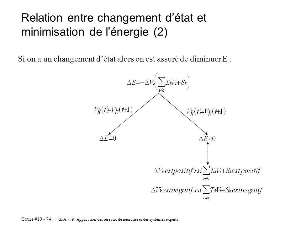 GPA-779 Application des réseaux de neurones et des systèmes experts Cours #10 - 74 Relation entre changement détat et minimisation de lénergie (2) Si on a un changement détat alors on est assuré de diminuer E :