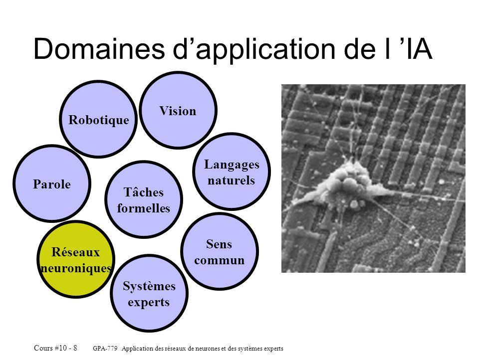GPA-779 Application des réseaux de neurones et des systèmes experts Cours #10 - 8 Domaines dapplication de l IA Robotique Vision Langages naturels Sens commun Systèmes experts Réseaux neuroniques Parole Tâches formelles