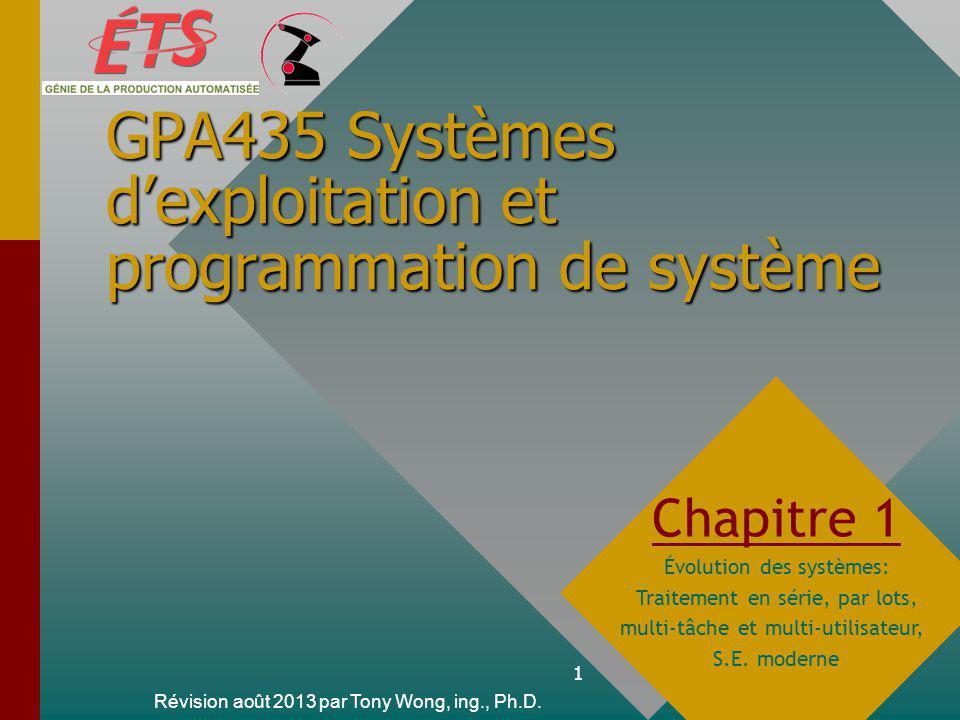 1 GPA435 Systèmes dexploitation et programmation de système Révision août 2013 par Tony Wong, ing., Ph.D.