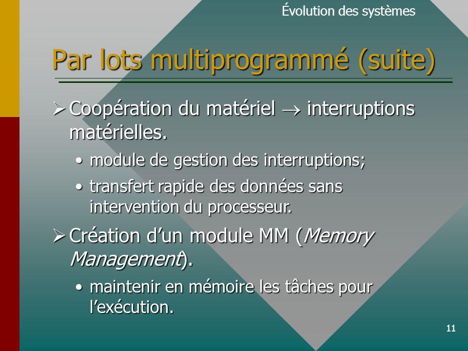 11 Par lots multiprogrammé (suite) Évolution des systèmes Coopération du matériel interruptions matérielles.