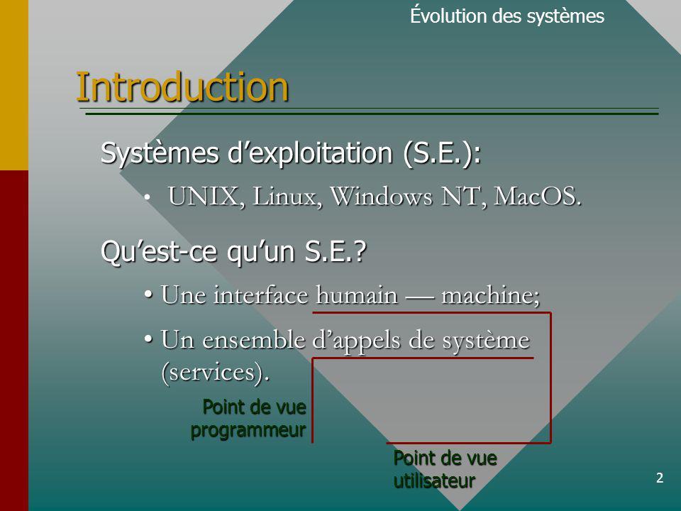 13 Traitement en temps partagé Évolution des systèmes Traitement par lots pas dinteractivité.