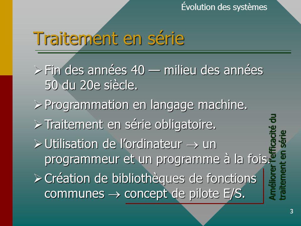 14 Traitement en temps partagé Évolution des systèmes Chaque utilisateur du système est relié à lordinateur par le biais dun terminal.
