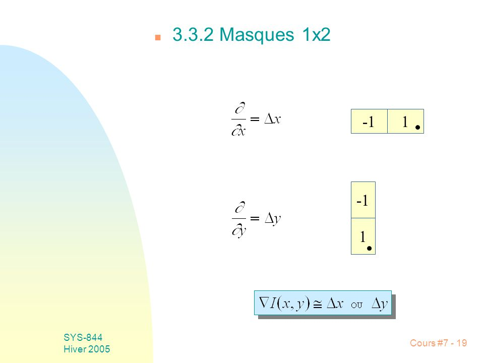 Cours #7 - 19 SYS-844 Hiver 2005 n 3.3.2 Masques 1x2 1 1