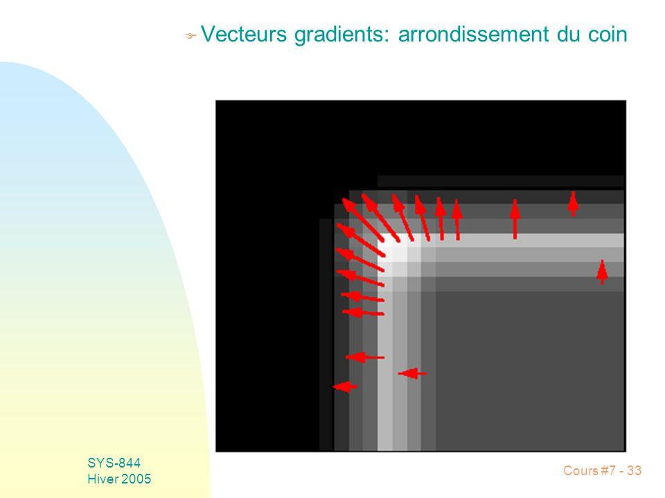 Cours #7 - 33 SYS-844 Hiver 2005 F Vecteurs gradients: arrondissement du coin